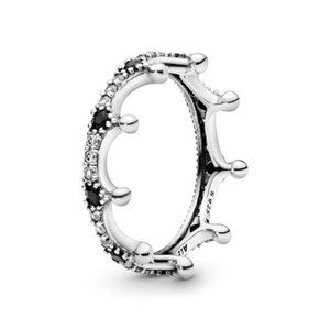 Pandora Clear & Black Sparkling Crown Ring